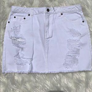 High rise White denim skirt